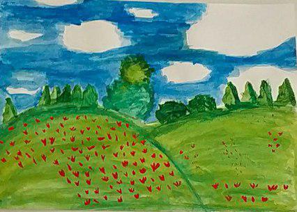 Les champs de coquelicots (en observant les coquelicots de Claude Monet)